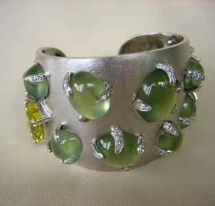 #B010 Prehnite and Citrine Cuff -  SOLD