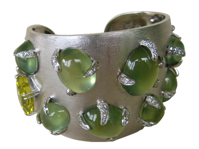 PREHNITE & CITRINE CUFF - ITALIAN COLLECTION