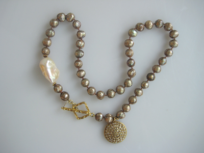#N049 FACETED BROWN PEARLS & DIAMOND PENDENT WITH ONE WHITE BAROQUE PEARL