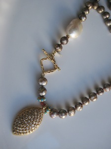 #024 FACETED BROWN PEARLS & DIAMOND PENDENT & WHITE BAROQUE PEARL