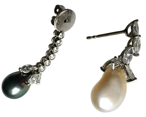 black and white Baroque Pearl Earrings