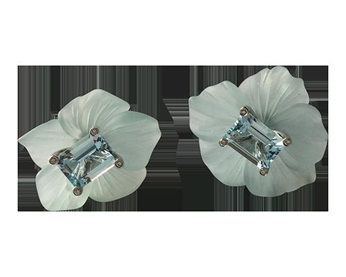 aquamarine dogwood flowers Earrings