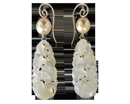 Burmese Jade & Pearl Earrings