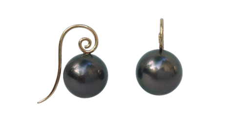 BLACK TAHITIAN PEARLS ON 18K GOLD CPS WIRE