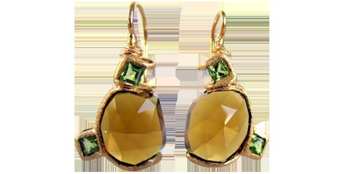 Cinnamon Quartz and Peridot Earrings