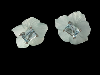 #ER063 aquamarine dogwood flower earrings $ 3,000.00
