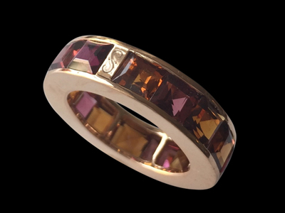 #R044 Hessonite Garnet wheel band ring $ 3,000.00