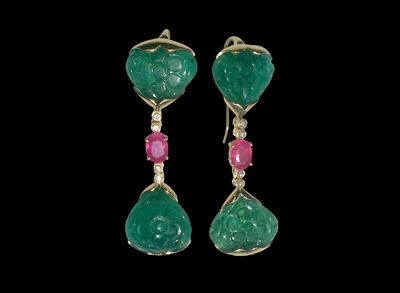 #ER061 cpsjewels Mughal Emerald earrings