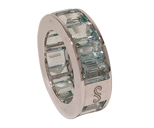 aquamarine wheelband ring